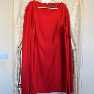 Red Caped Cocktail Dress
